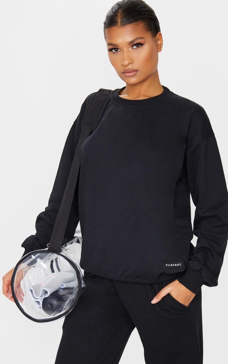 PRETTYLITTLETHING Black Badge Detail Sport Sweater 1