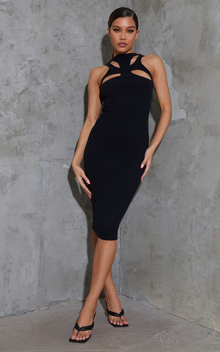 Black Ribbed Racer Neck Cut Out Detail Midaxi Dress