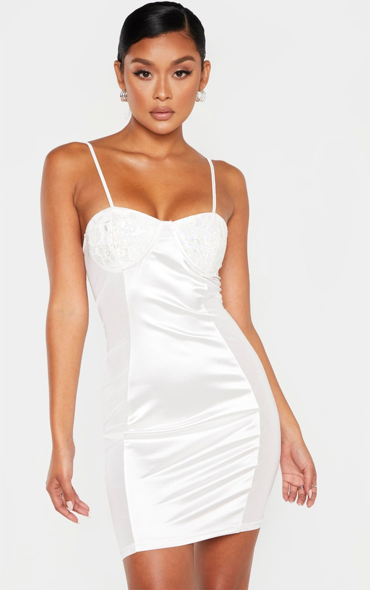 White Lace Cup Satin Mesh Insert Bodycon Dress 1