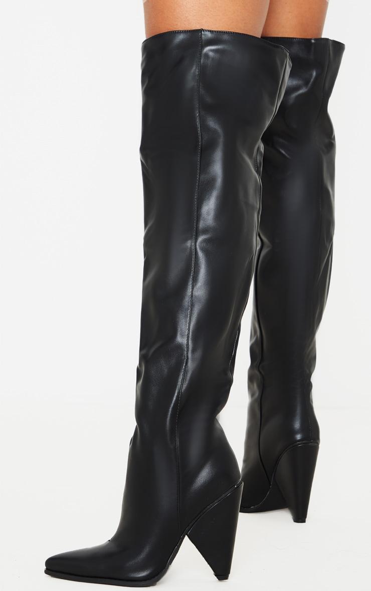Black Thigh High Cone Heel Boot 2