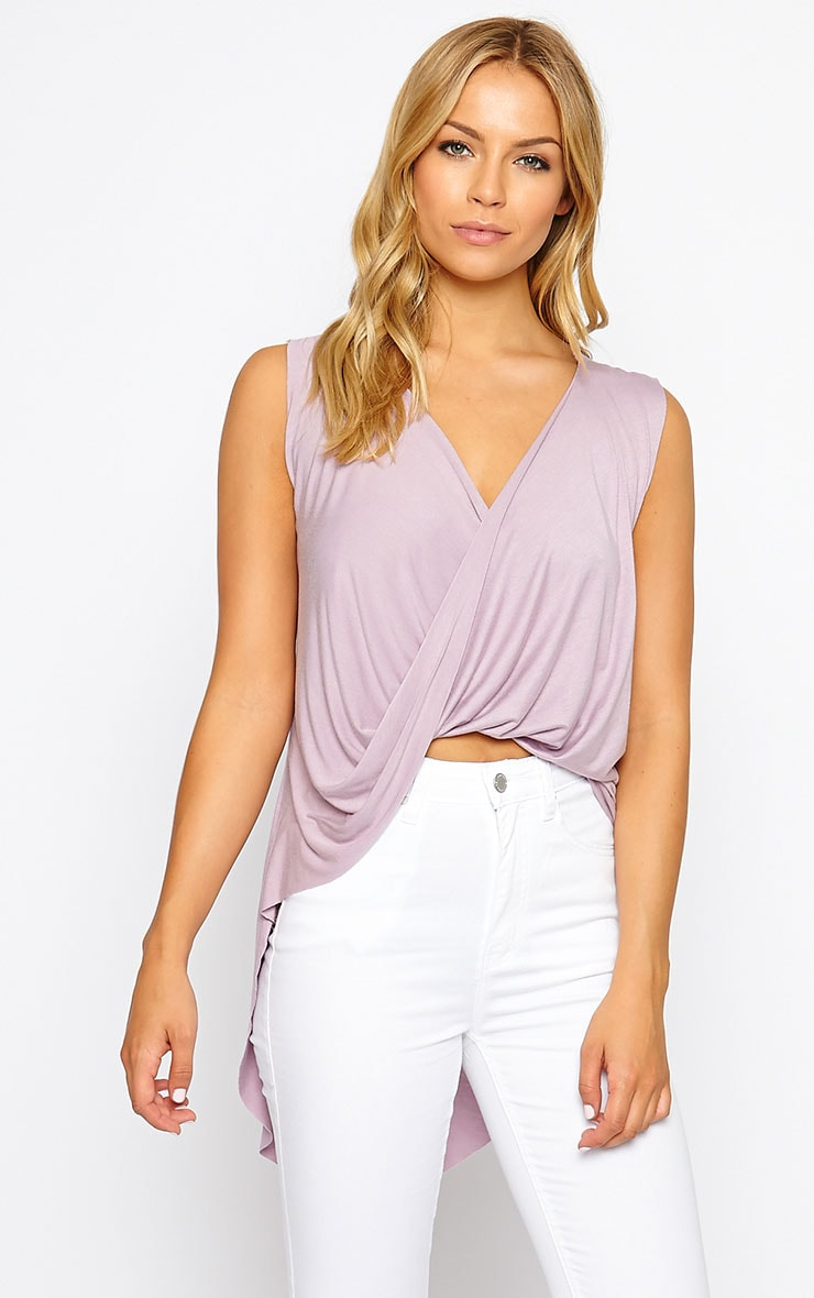 Jodeane Mauve Twist Front Sleeveless Top 1