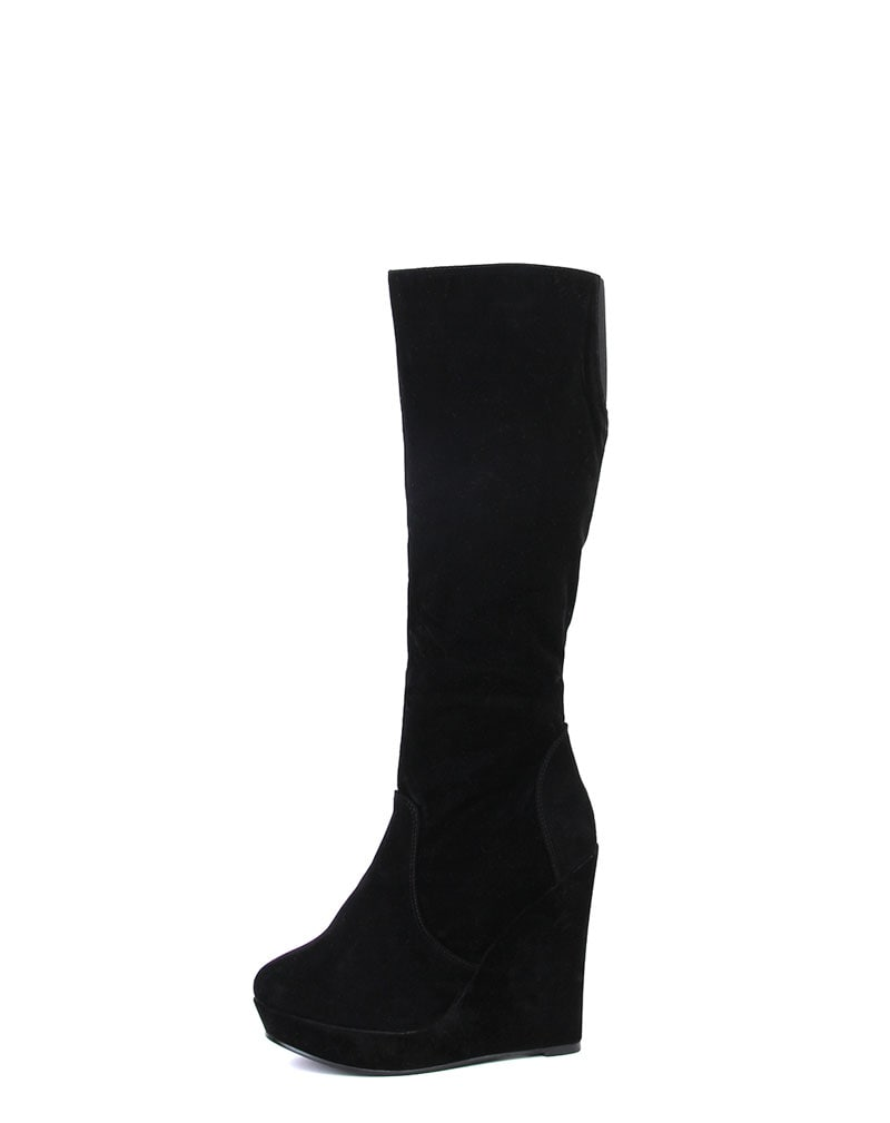 Black Suede Wedge Boot 1
