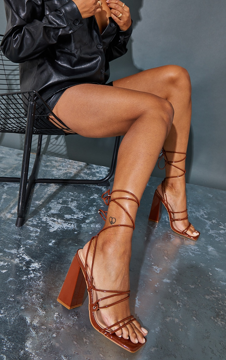 Toffee Patent PU Square Toe Strappy Block Heel Sandals 1