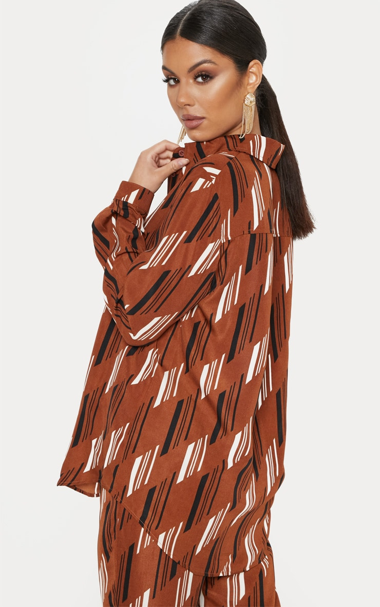 Brown Printed Oversized Shirt 2