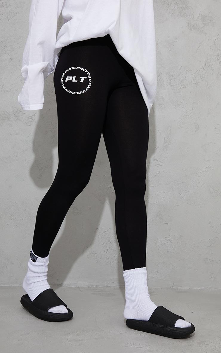 PRETTYLITTLETHING Black Circle Logo Leggings 2