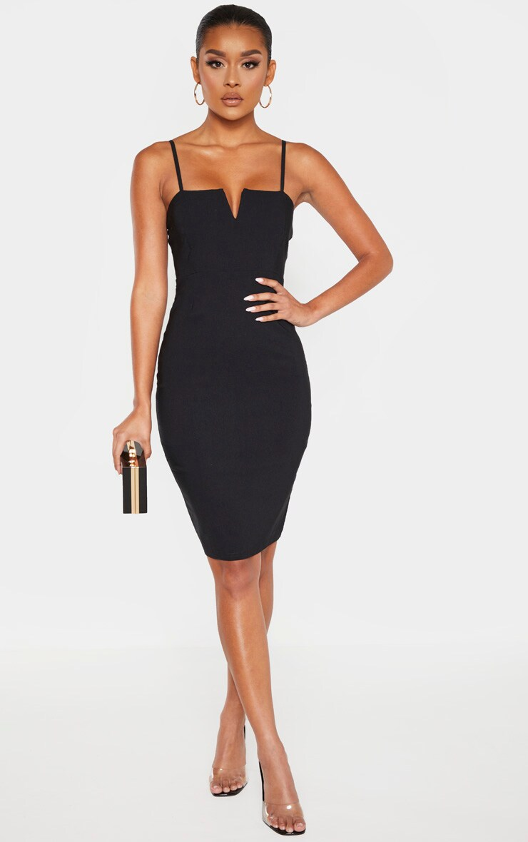 Black Woven V Detail Strappy Midi Dress 4
