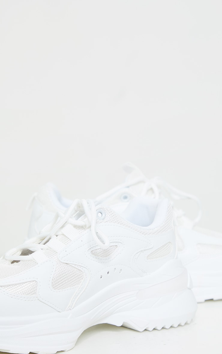 White Contrast Mesh Sneakers 3