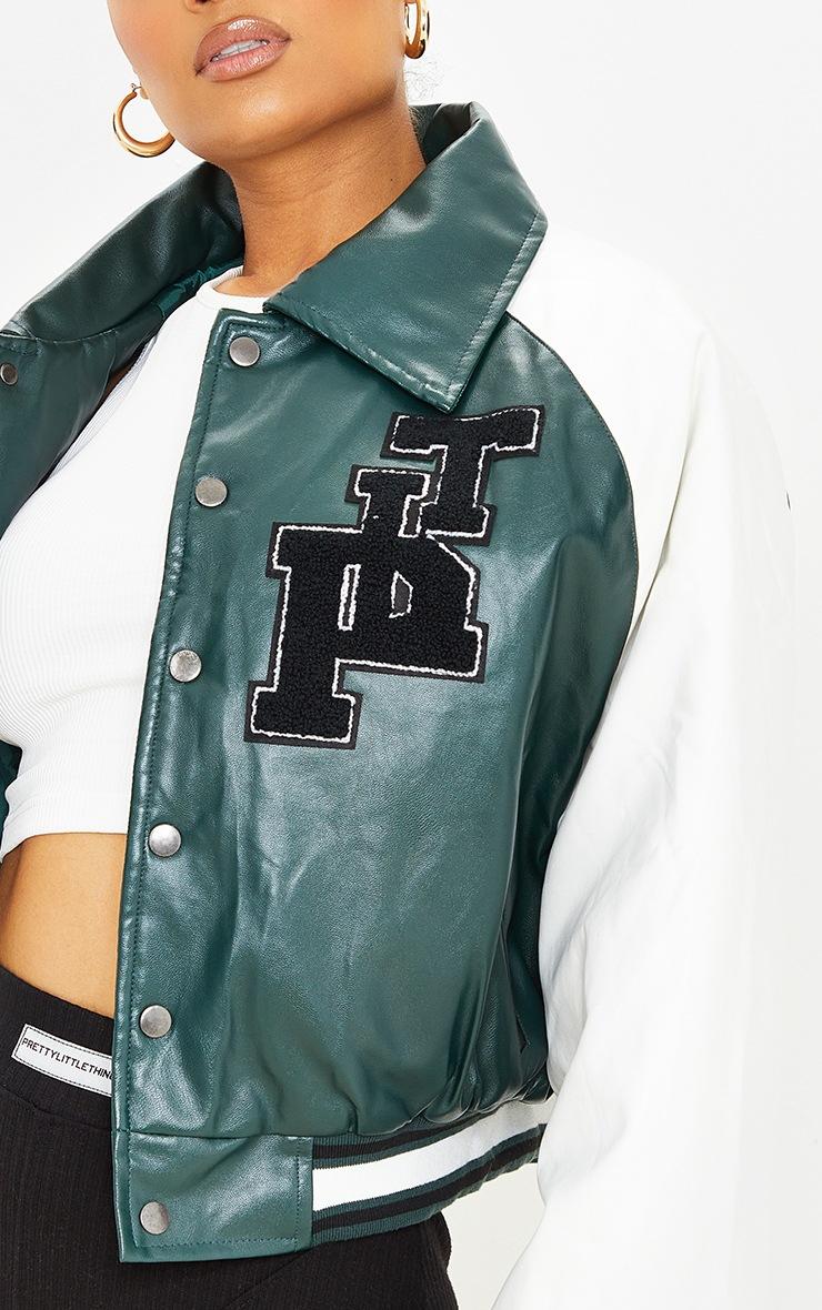 Green Faux Leather Raglan Sleeve Cropped Varsity Bomber Jacket image 5