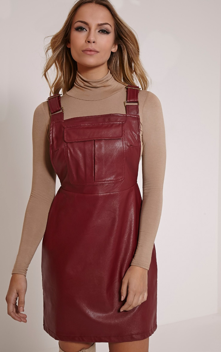 Myra Burgundy Faux Leather Pinafore Dress 1