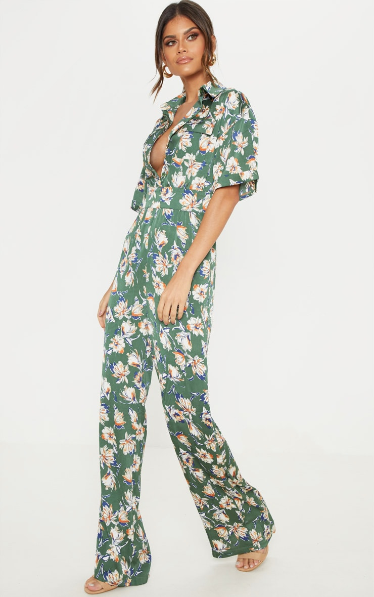 Green Floral Button Up Short Sleeved Jumpsuit 1