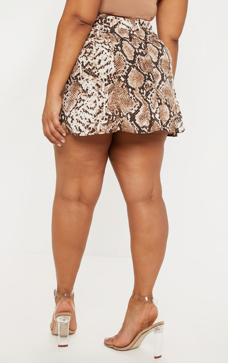 Plus Taupe Snake Print Satin Mini Skirt 4