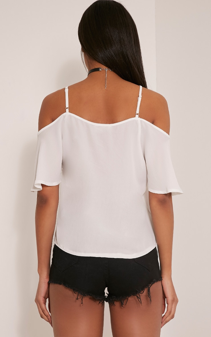 Ruthy White Cold Shoulder Chiffon Top 2