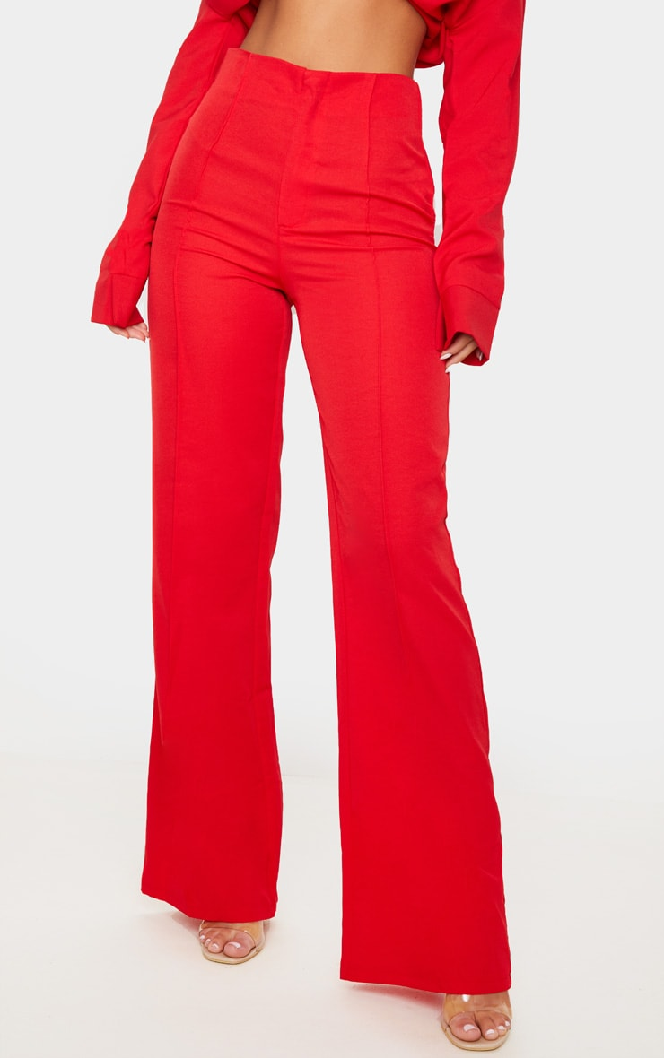 Red Woven Seam Detail Straight Leg Trousers 3
