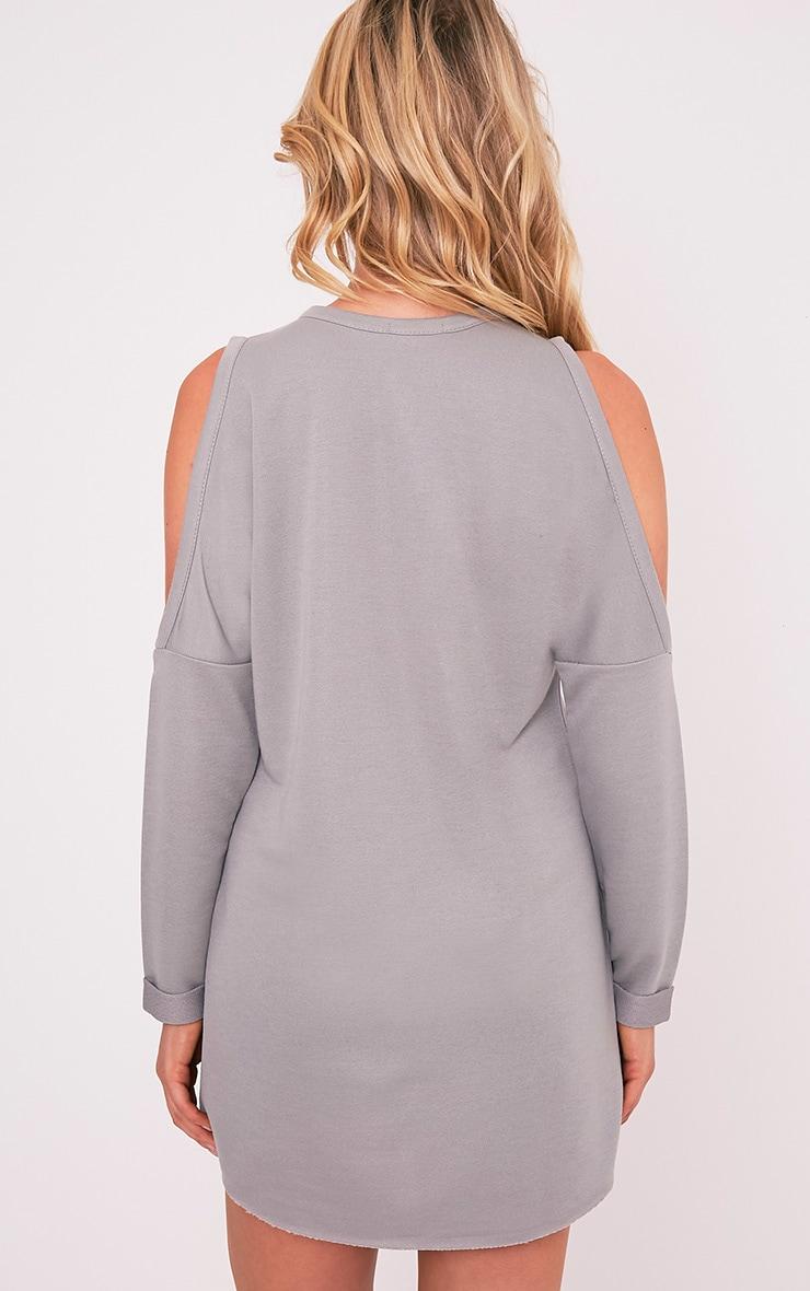 Milene Grey Cold Shoulder Sweater Dress 2
