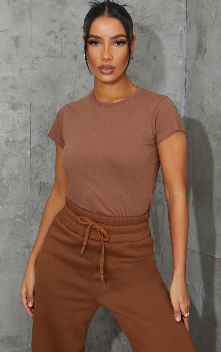 Tee-shirt simple cintré marron clair 1