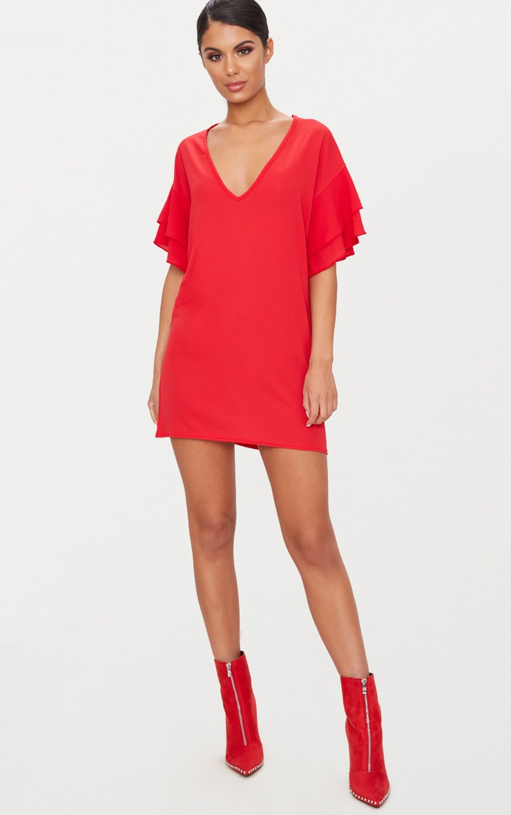 Red Double Frill Sleeve Shift Dress 4