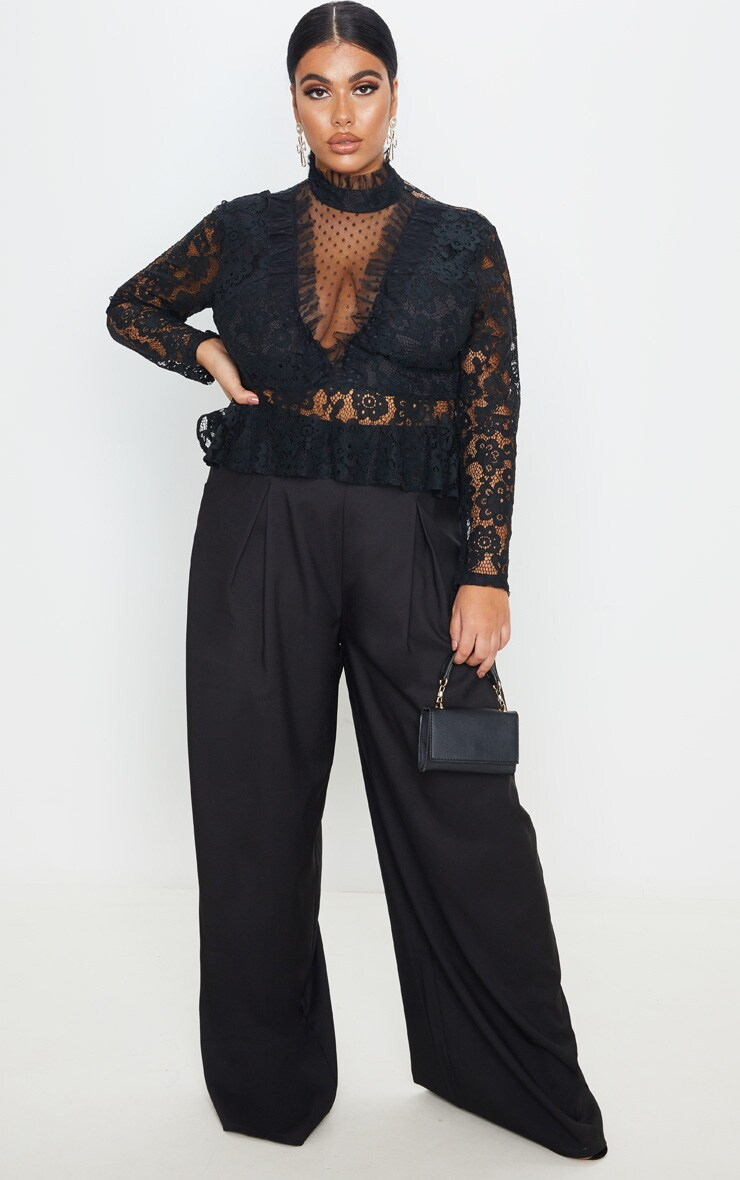 Plus Black Laced High Neck Blouse 4