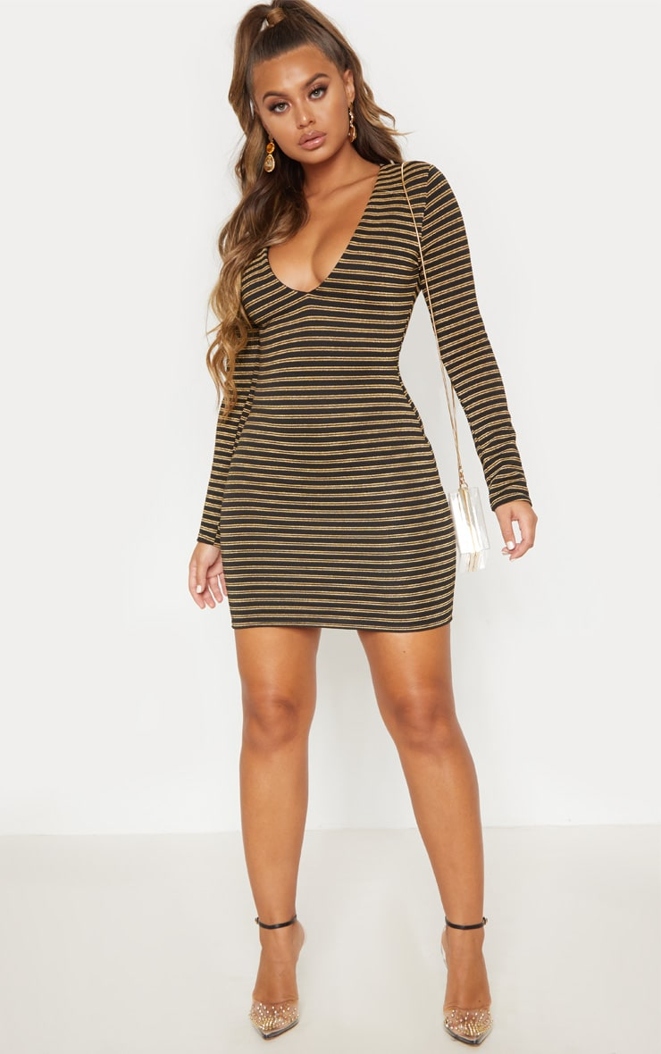 Gold Striped Plunge Bodycon Dress  5