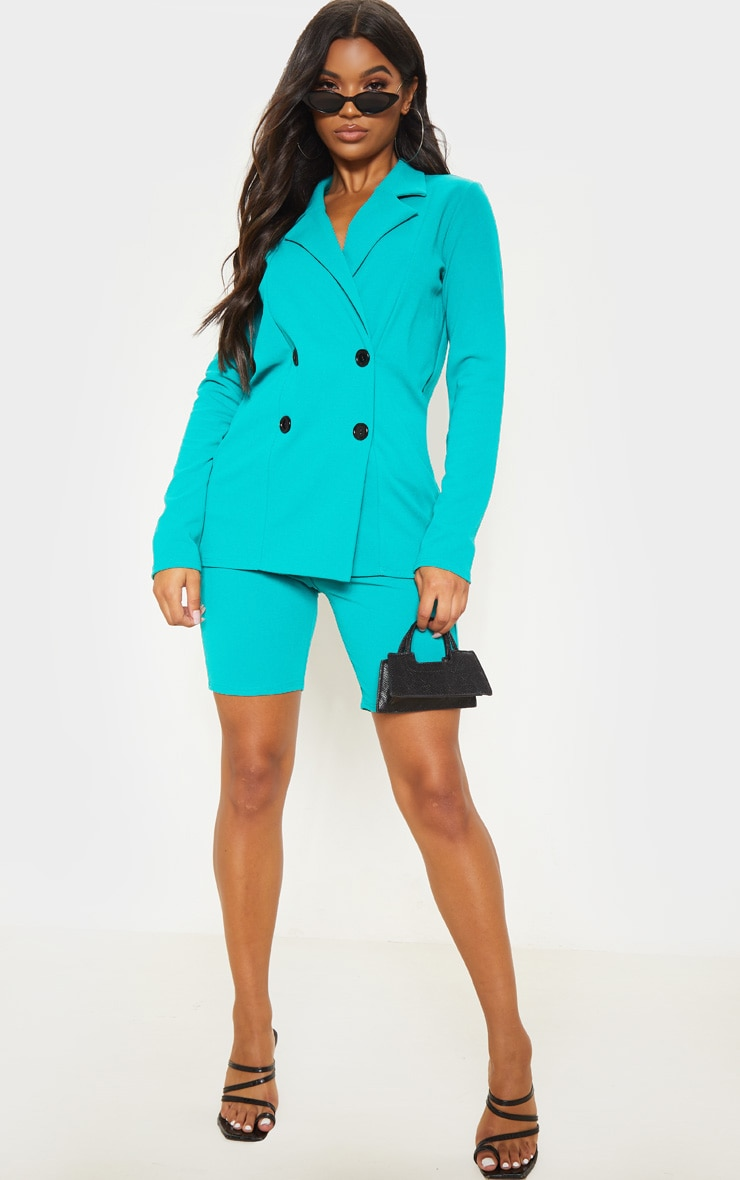 Teal Double Breasted Button Suit Jacket  4