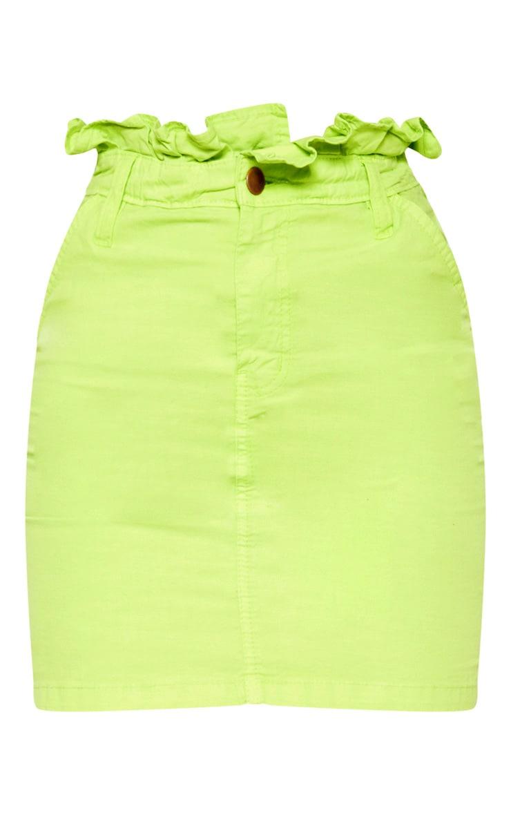 Neon Lime Frill Paperbag Denim Skirt  3