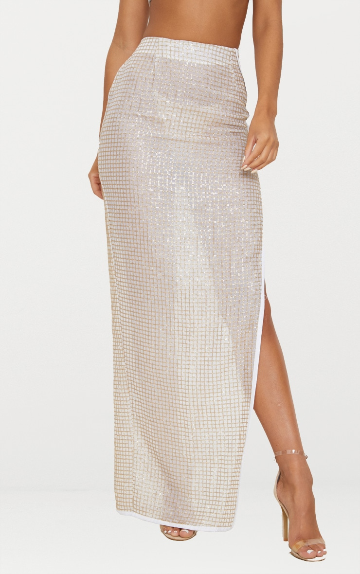 Gold Sheer Sequin Maxi Skirt 2