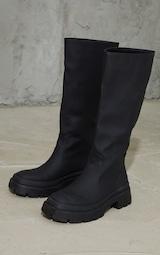 Black Knee High Rubberised Boots 3
