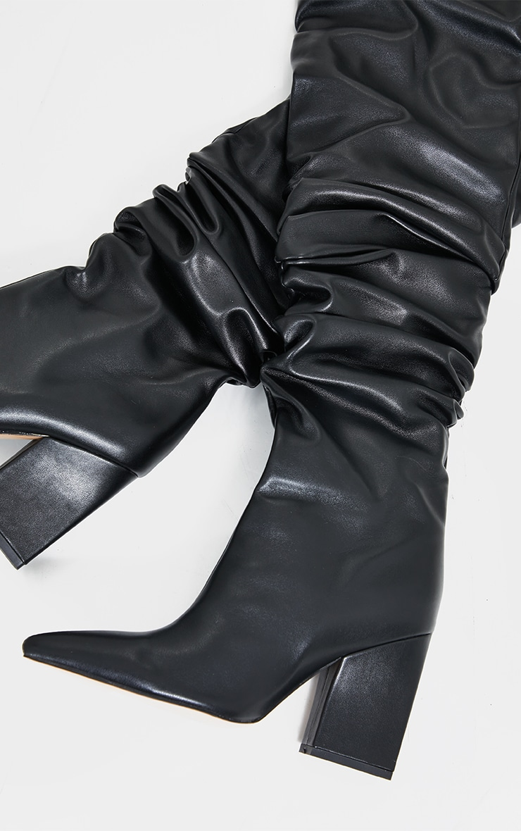 Black Western Slouch Over The Knee Boots 4