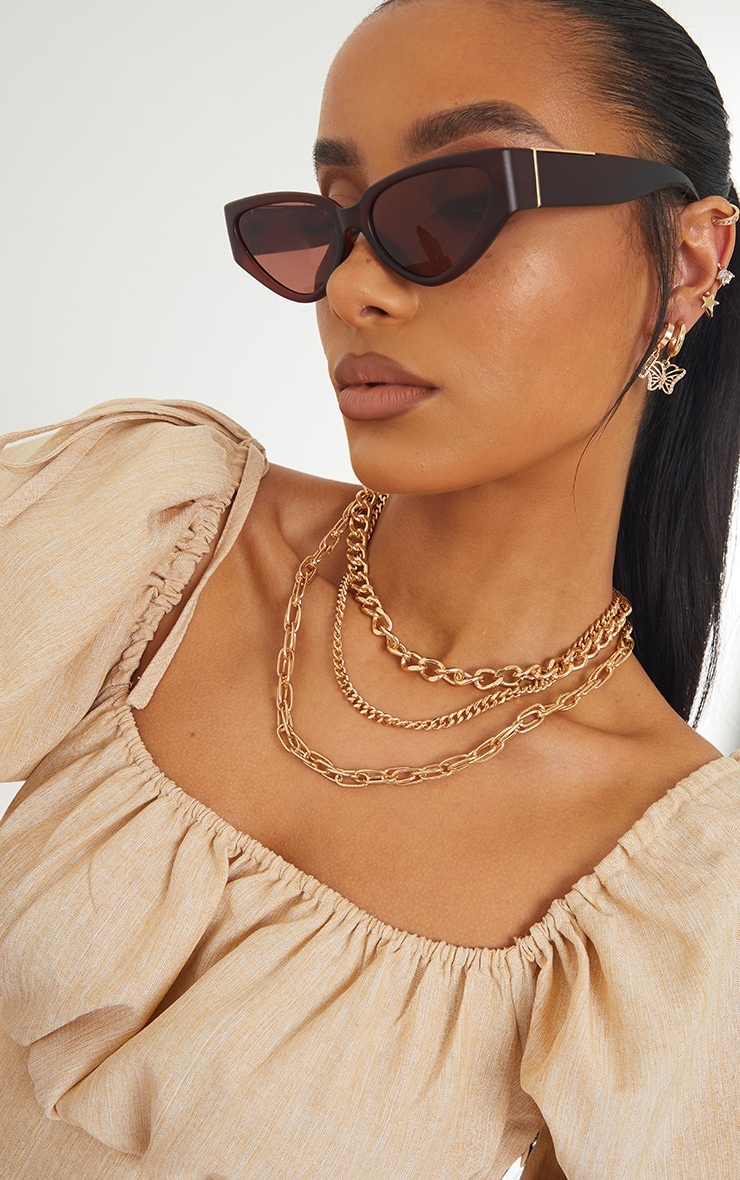 Gold Three Assorted Chain Layering Necklace 1