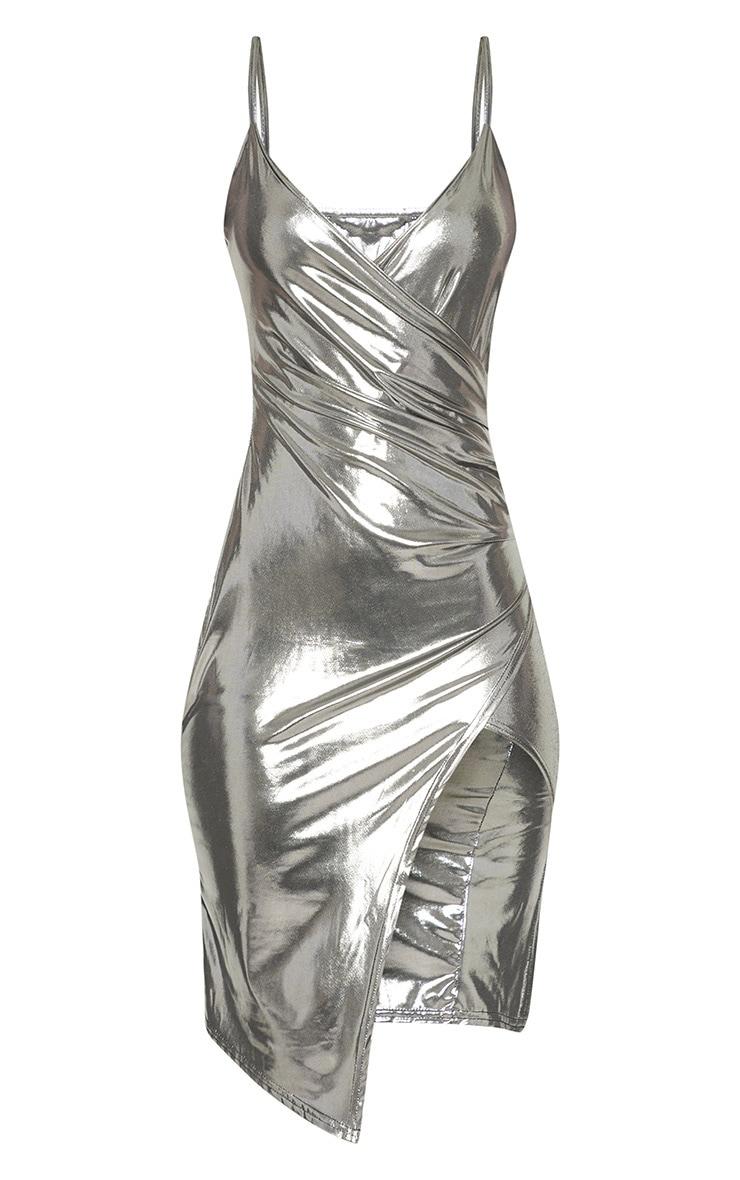 Silver Metallic Wrap Front Midi Dress 3