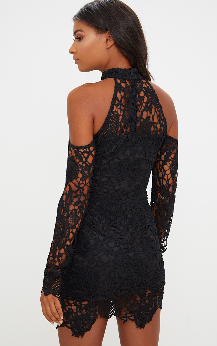 Black High Neck Cold Shoulder Lace Bodycon Dress 2