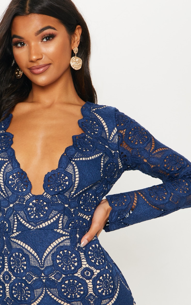 Navy Crochet Lace Plunge Bodycon Dress 4