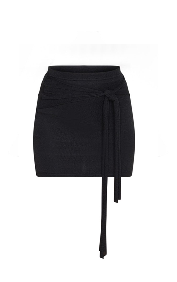 Black Lightweight Knit Tie Front Mini Skirt 6