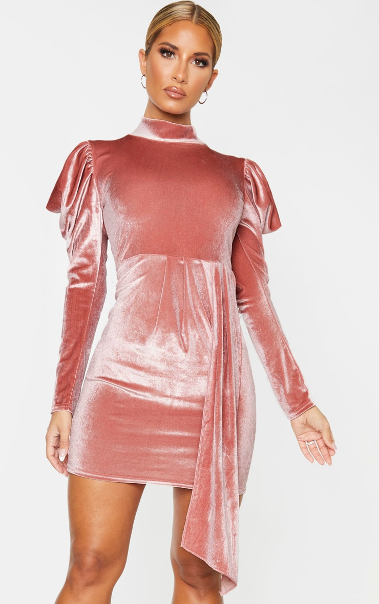 Blush Velvet High Neck Bodycon Dress 4
