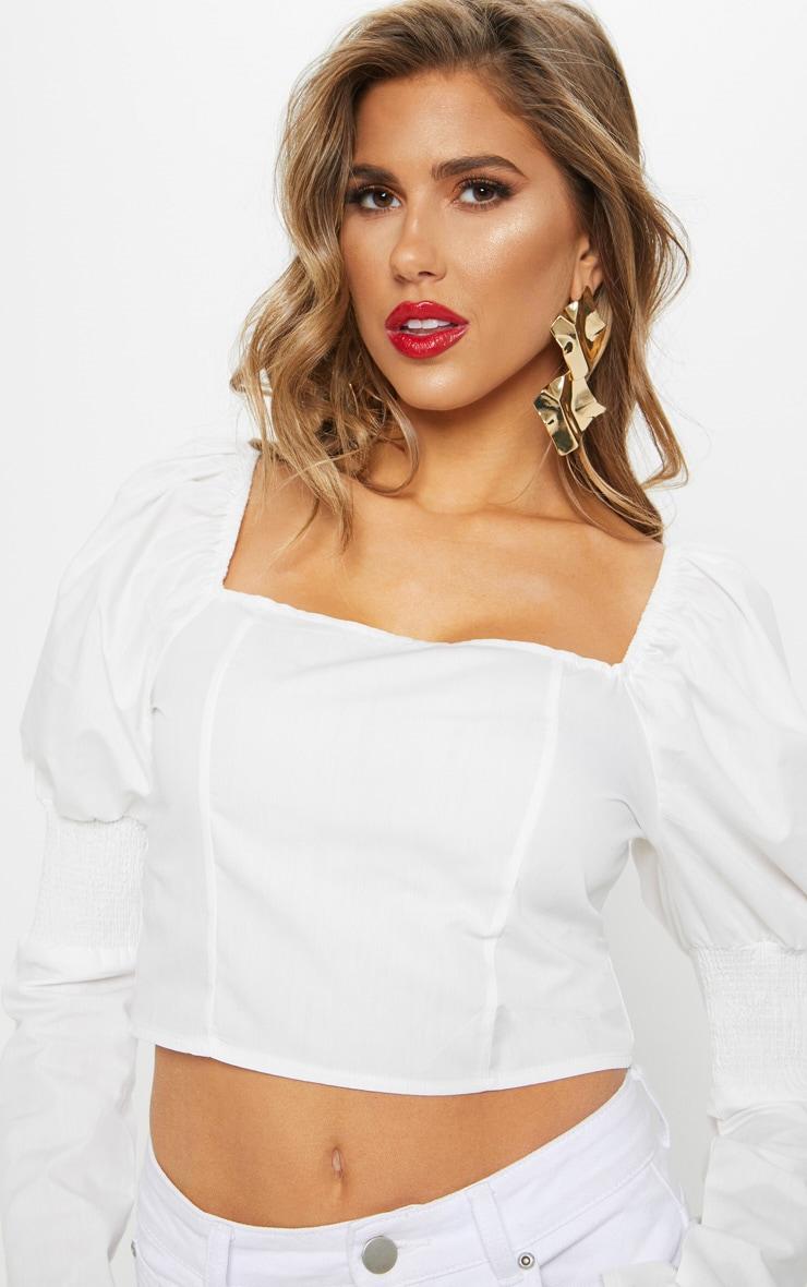 White Shirred Sleeve Crop Top 5