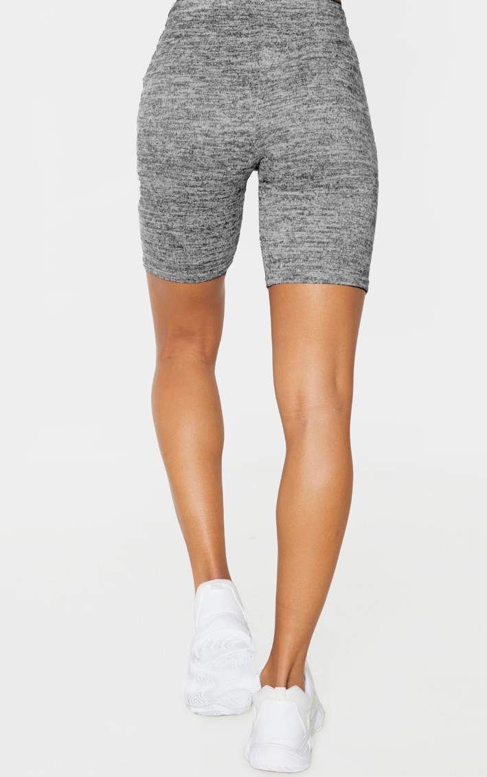 Grey Marl Brushed Textured Cycle Short 4