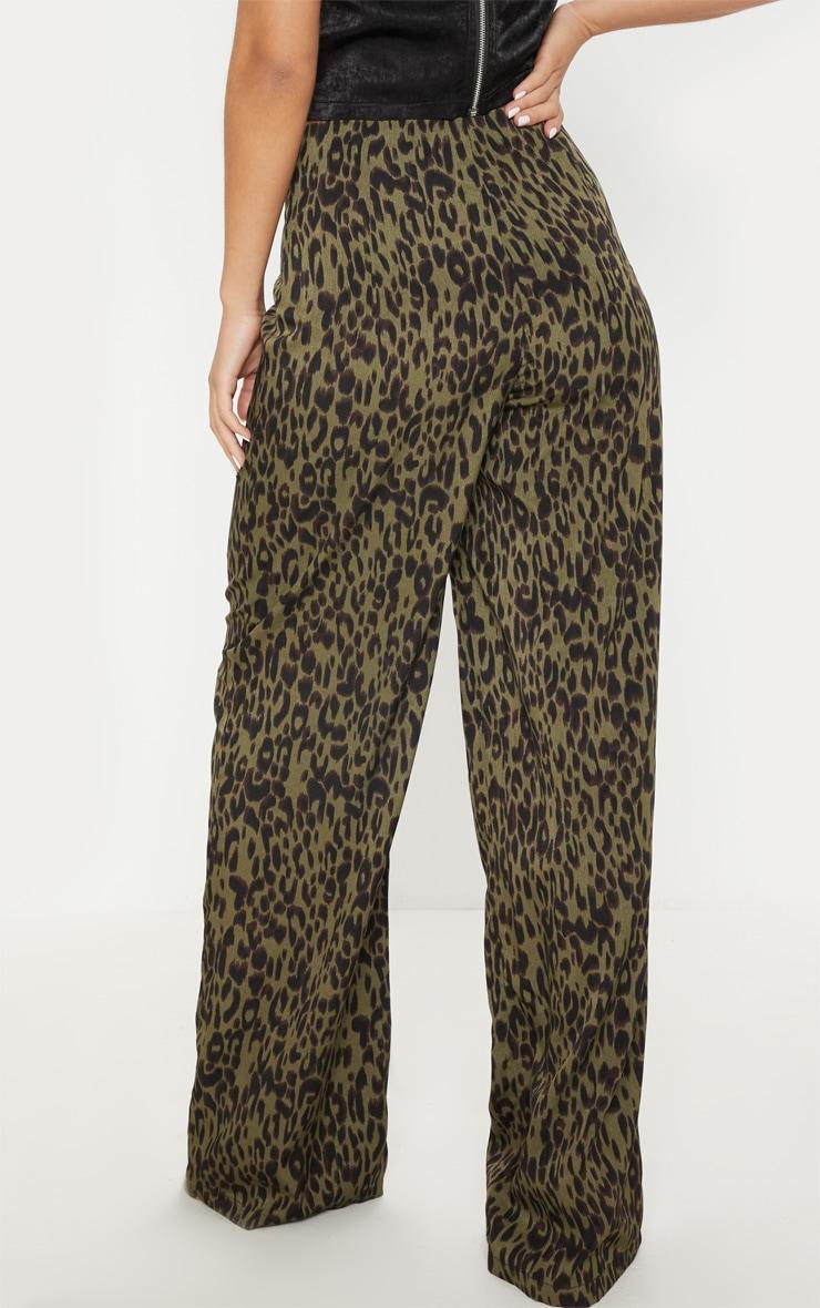 Khaki Printed Wide Leg Pants 4