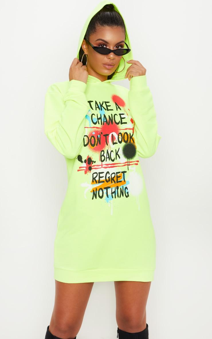 Neon Yellow Graffiti Slogan Oversized Hoodie Jumper Dress 1