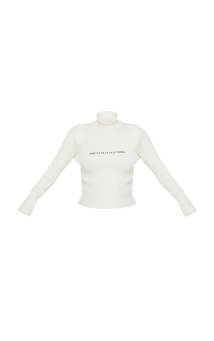 PRETTYLITTLETHING Cream Ribbed Sweater 3