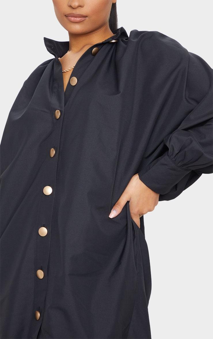 Black Gold Button Detail Shirt Dress 4