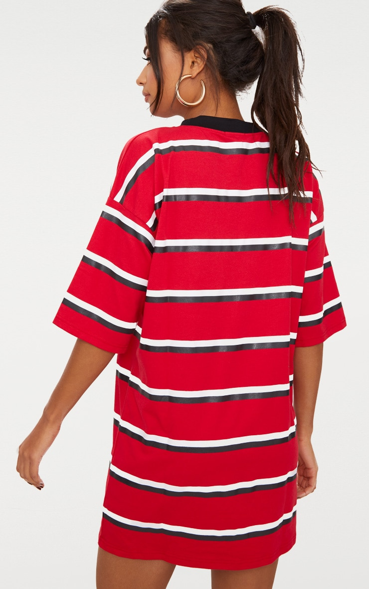 Red Contrast Stripe Oversized Boyfriend T Shirt Dress 2