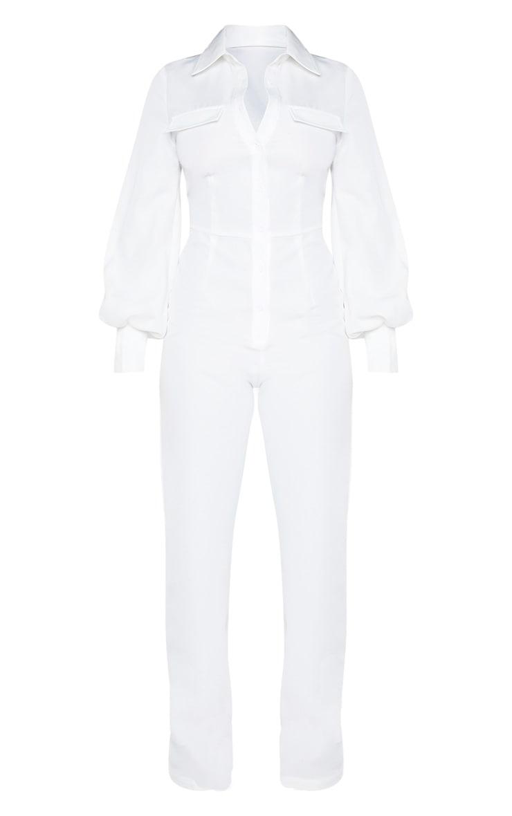 Petite - Combinaison blanche à manches longues et détail poches 3