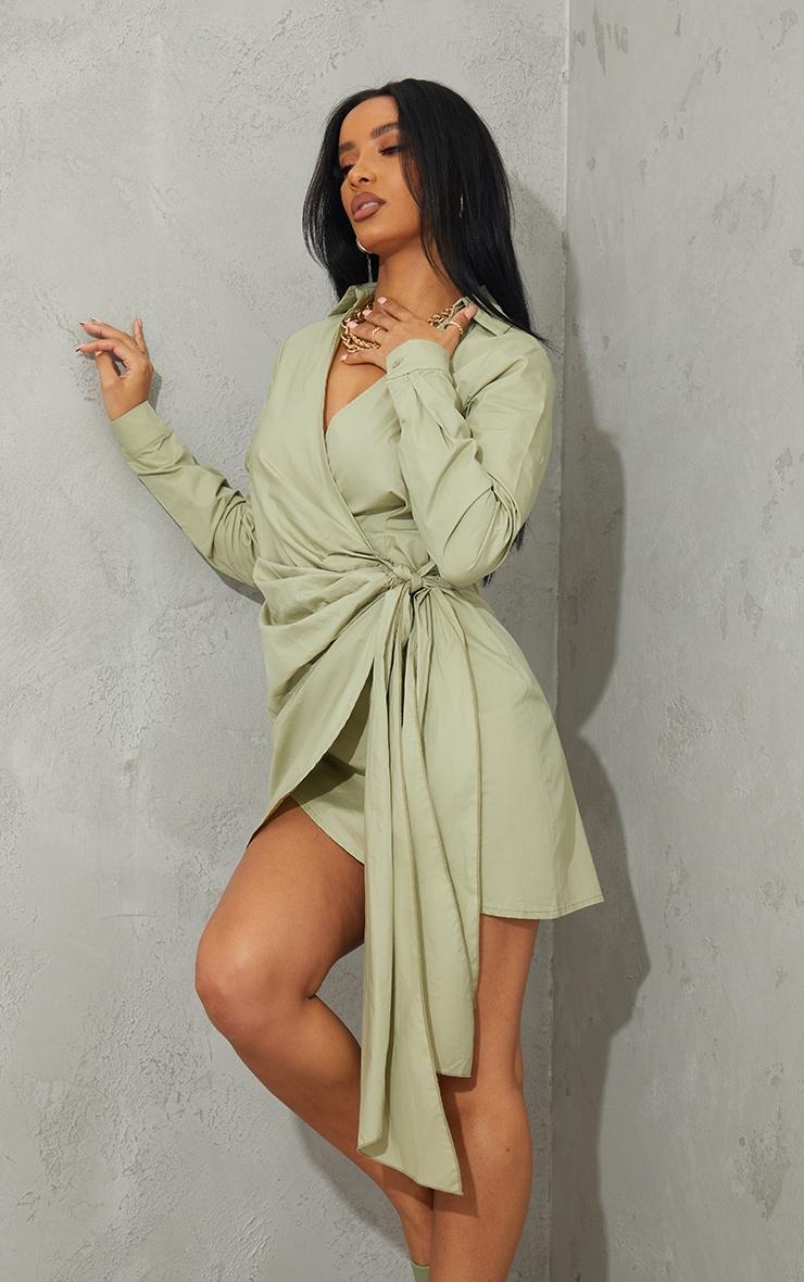 Sage Green Tie Skirt Detail Long Sleeve Shirt Dress