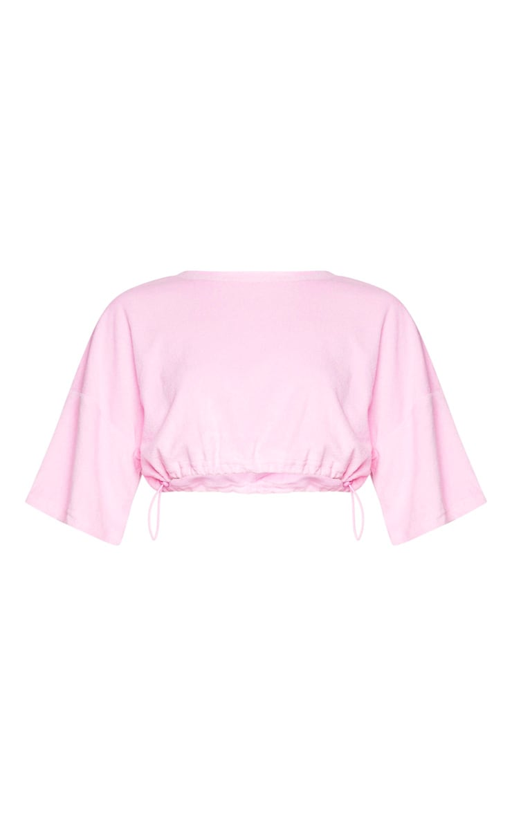 Pink Towelling Drawstring Toggle Crop Top 5