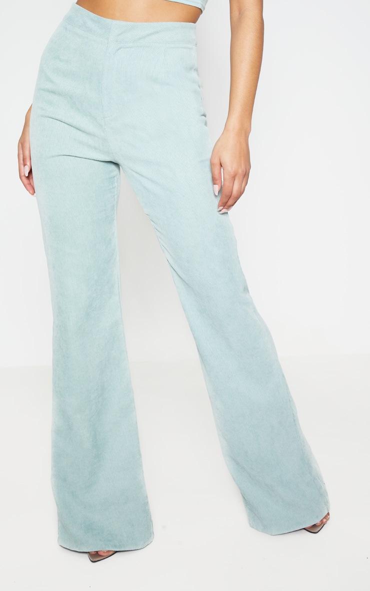 Sage Green Cord Flare Pants 2