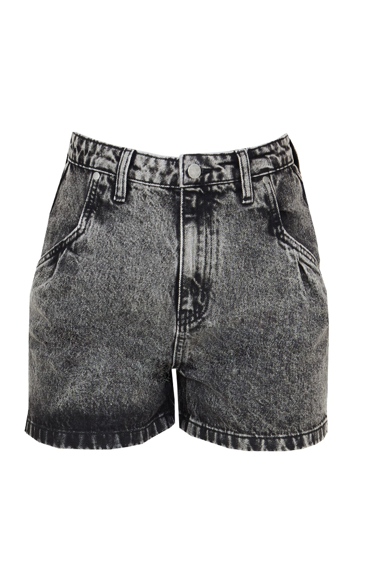 Black Acid Wash Stitch Pocket Detail Denim Mom Shorts 6