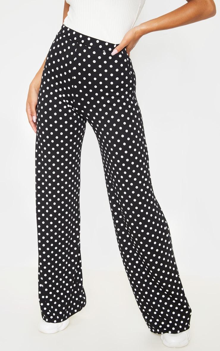 Black Polka Dot Basic Wide Leg Pants 2