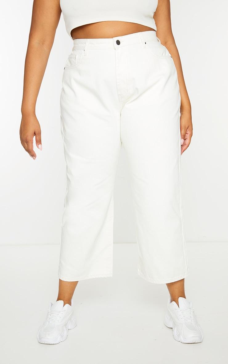 Plus Cream Wide Leg Denim Cropped Jeans 2