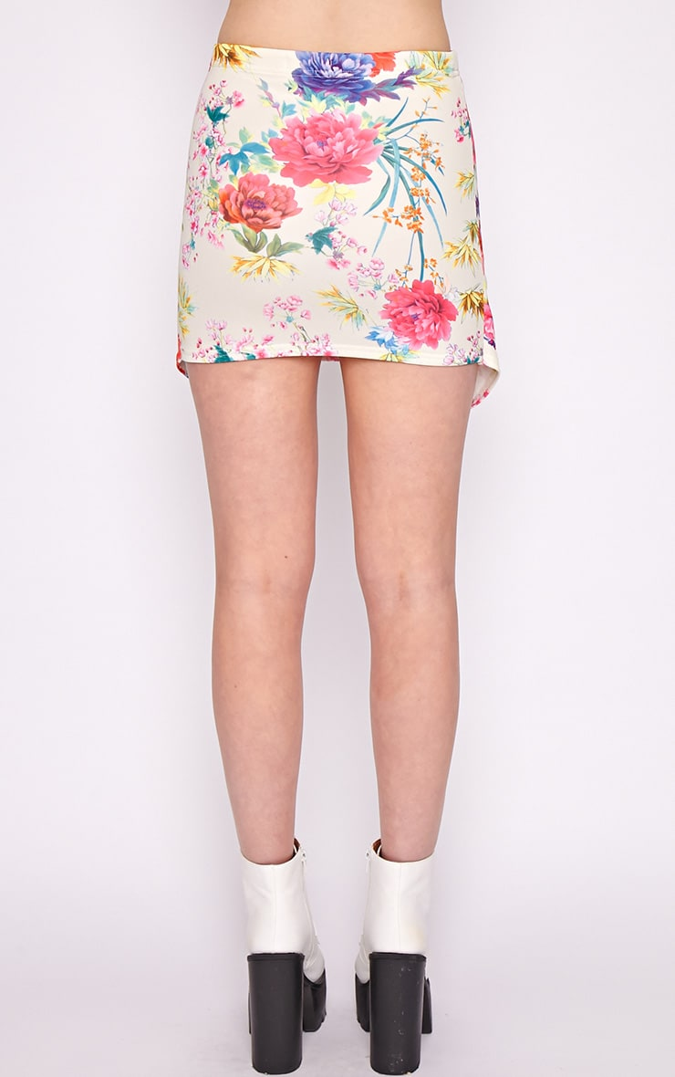 Effie Pink Floral Asymmetric Skirt 2