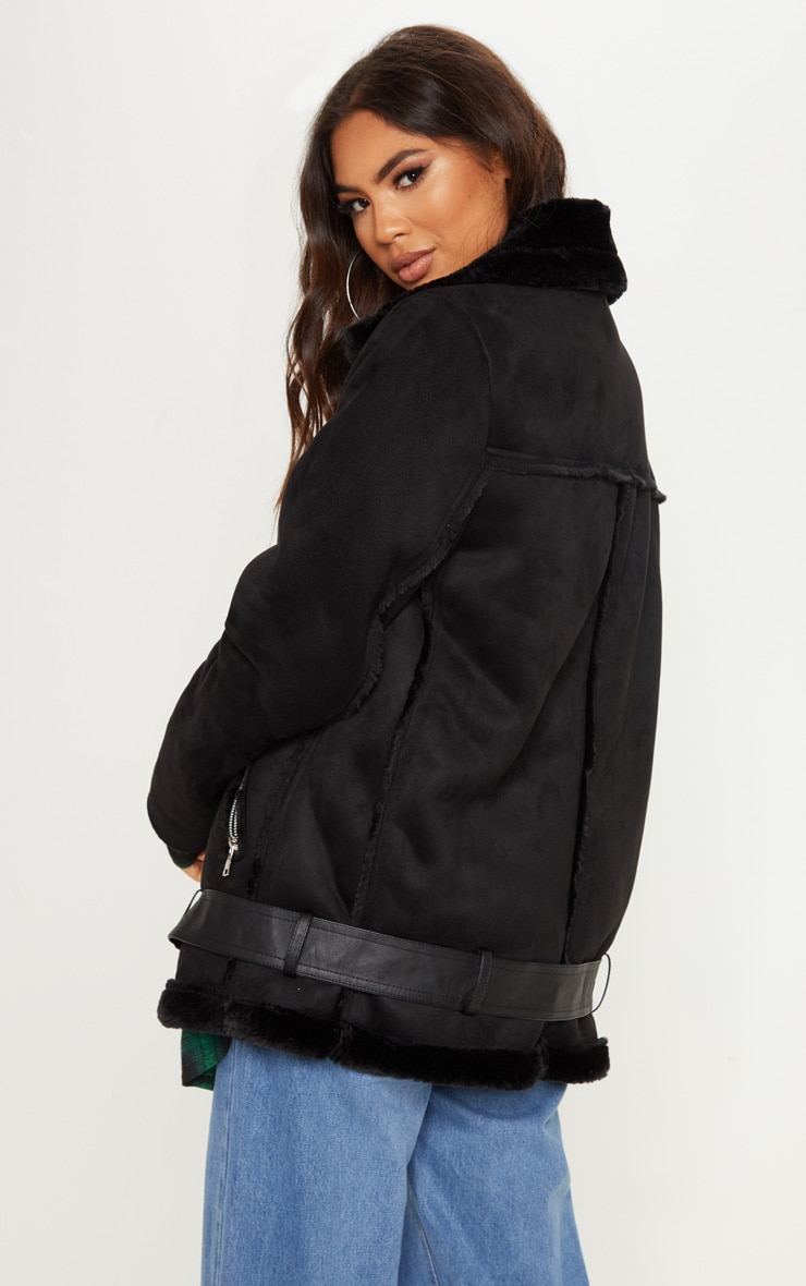 Emilia Black Faux Suede Aviator Jacket 2
