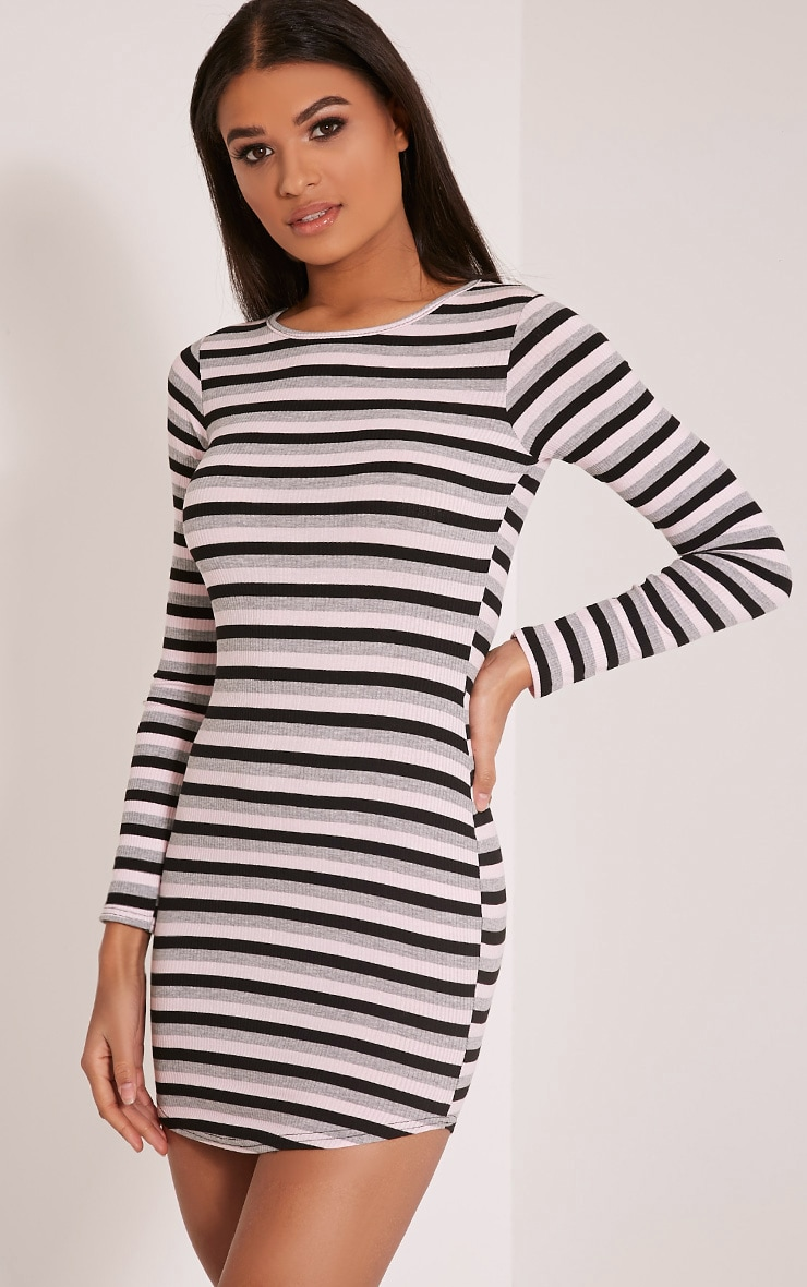 Peetra Pink Long Sleeve Curved Hem Stripe Dress 4